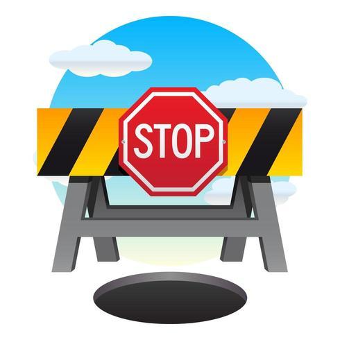 Stoppschild und Barriere