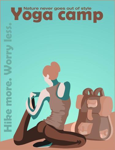 Femme, stretching, pose, sommet, montagne vecteur