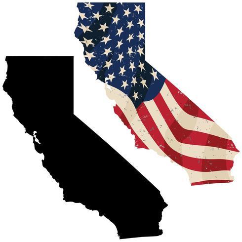 California con bandera estadounidense envejecida incrustada vector
