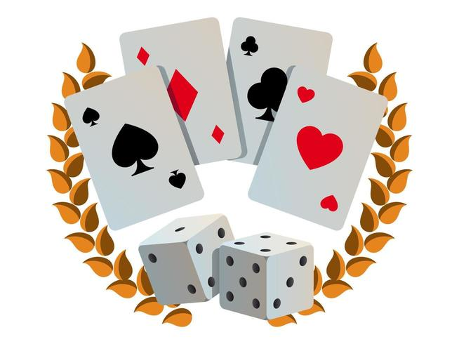 Casino Illustration with Cards and Dices vector