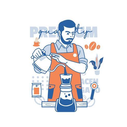 Jornada de trabajo de barista vector