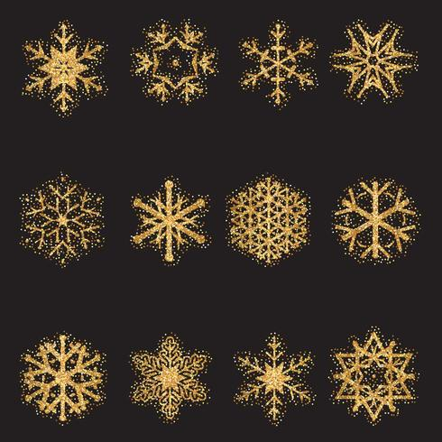 Collection de flocons de neige scintillants vecteur