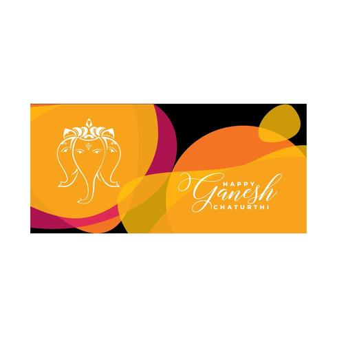 Happy Ganesh Chturthi Design with Colorful Shapes and Elephant Head