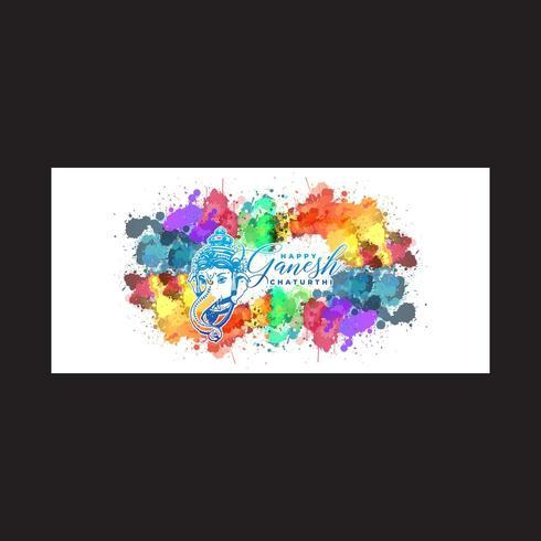 Happy Ganesh Colorful Brush Splash