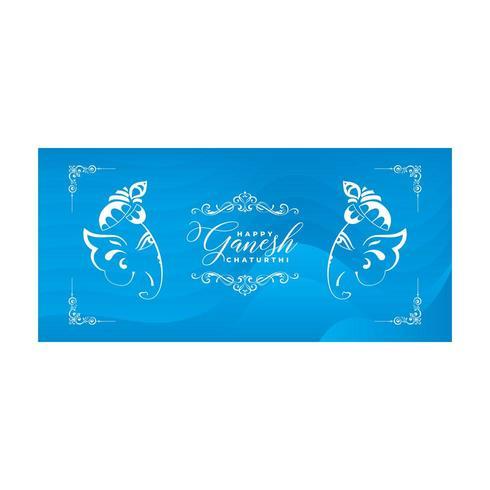 Happy Gansh Chaturthi Design with Elephant Heads on Blue