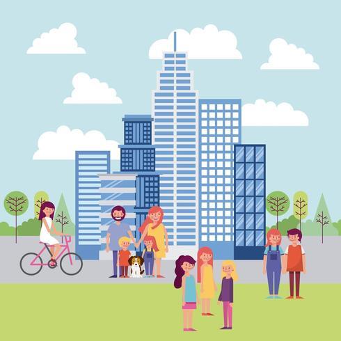 parque de personas y ciudad vector
