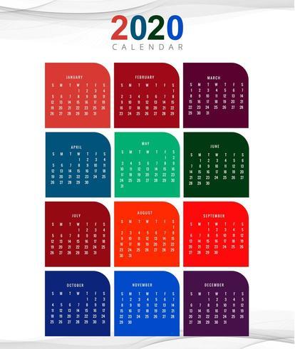 Vector de plantilla de diseño de calendario de año nuevo 2020