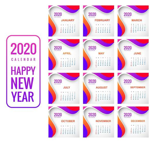 Creative new year colorful calendar 2020 background vector