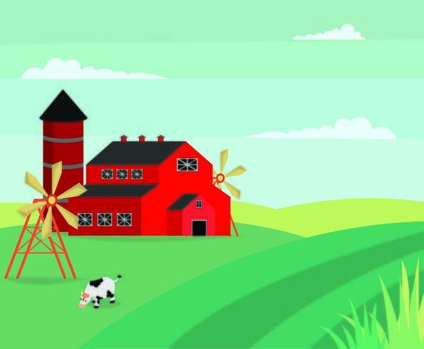 Paisaje de granja de dibujos animados de estilo plano