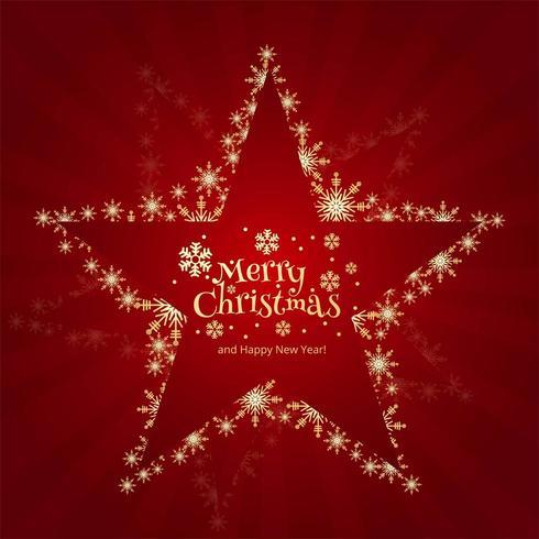 Brillantes copos de nieve creativa estrella de Navidad sobre fondo rojo.