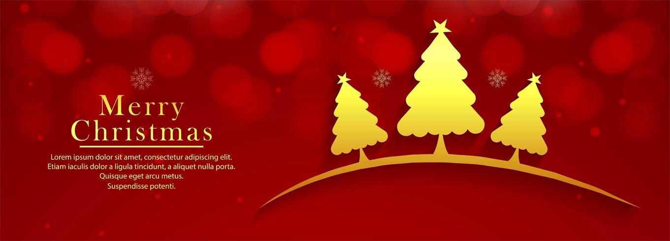 Hermoso árbol de navidad decorativo banner colorido fondo vector