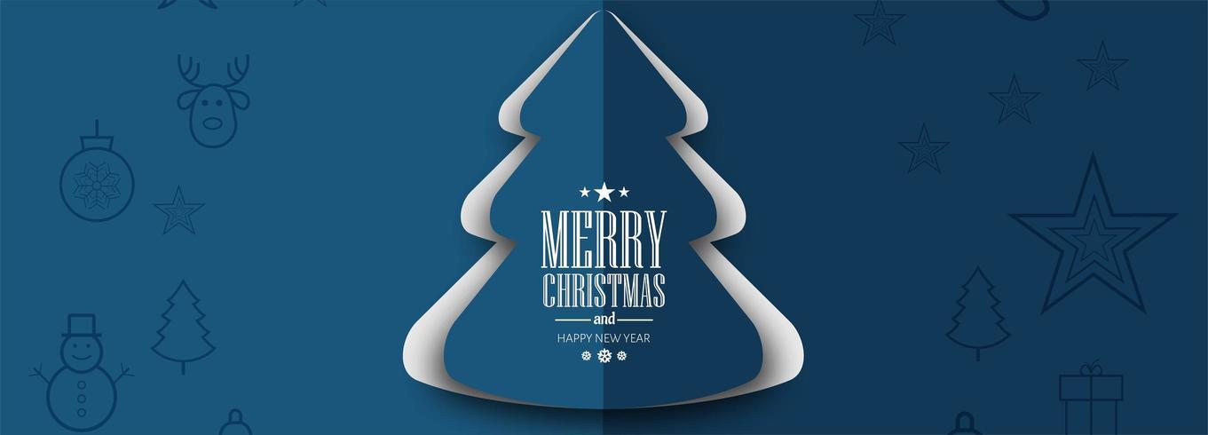 Elegante fondo de banner de celebración de tarjeta de árbol de Navidad vector