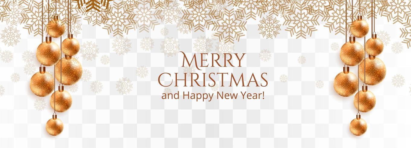 stylish golden christmas balls and snowflakes  vector