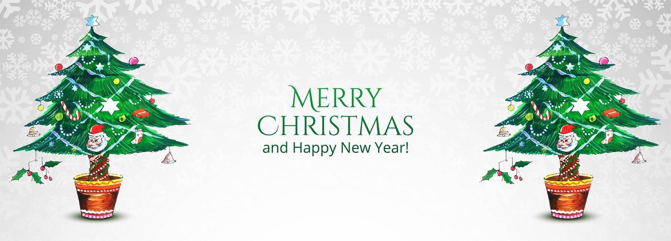 Hermoso árbol de navidad decorativo banner vector