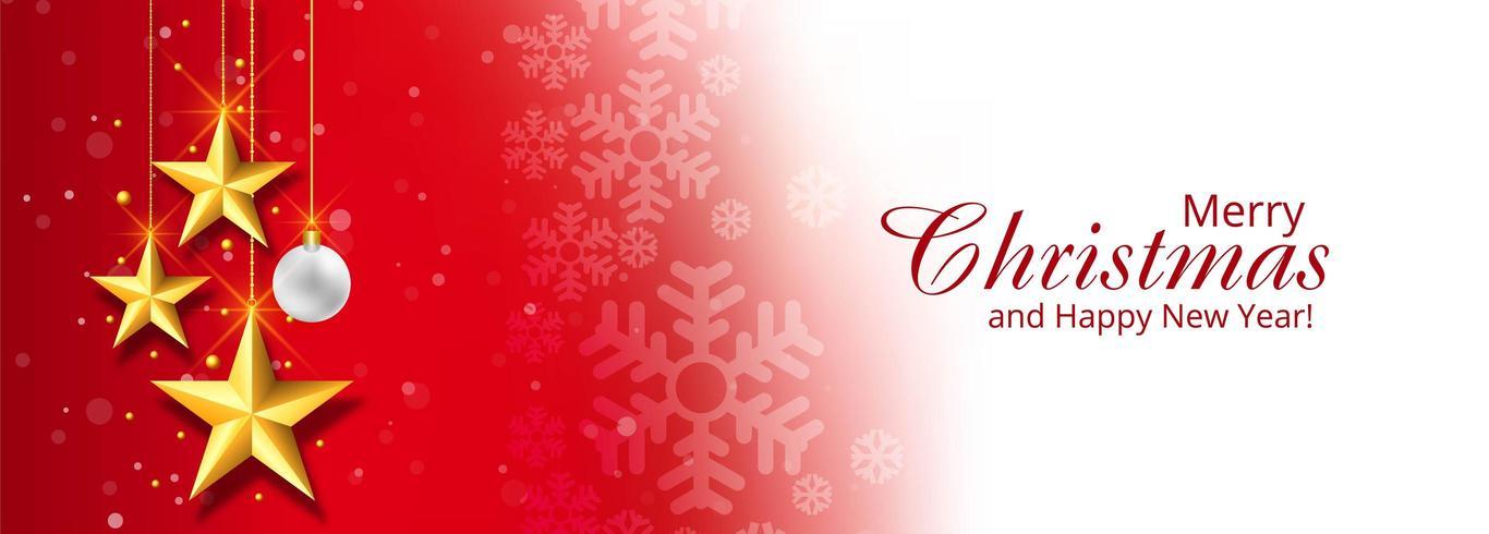 Navidad estrellas decorativas banner fondo rojo vector