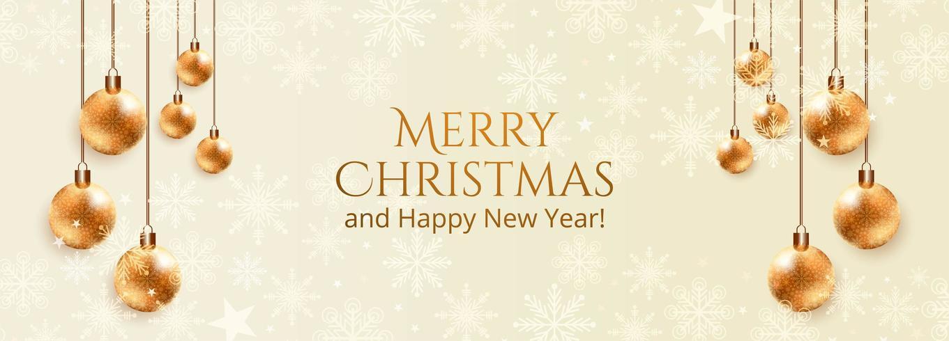 Fondo de banner de bola decorativa de vacaciones de Navidad vector