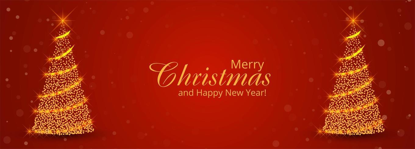 Plantilla de banner de árbol de Navidad con adornos vector