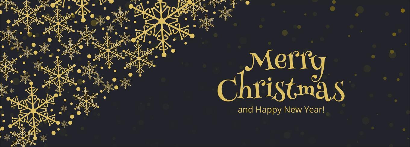 Banner horizontal con fondo de tarjeta de copos de nieve de Navidad vector