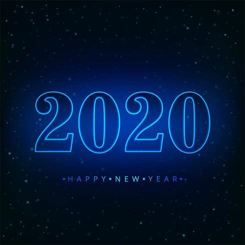 Neon del fondo di vettore di festa del buon anno 2020 del testo