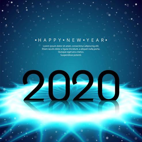 Diseño de texto futurista brillante 2020 año nuevo vector