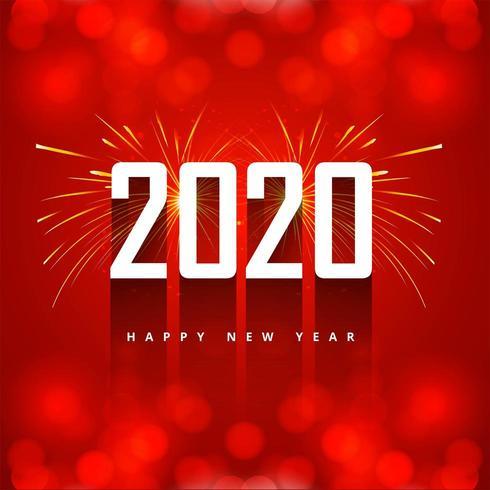 Tarjeta de felicitación de texto de año nuevo rojo 2020 vector