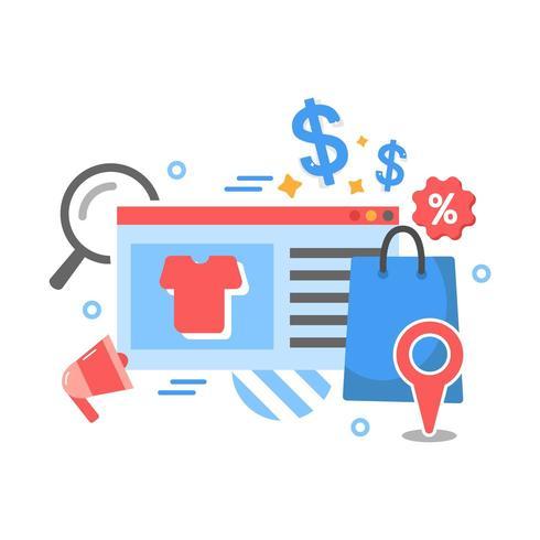 Negocio de comercio electrónico, tienda de internet, compras en línea iconos vector