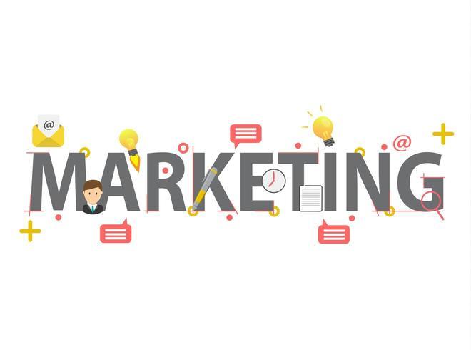 Concepto de marketing de palabras con elementos vector