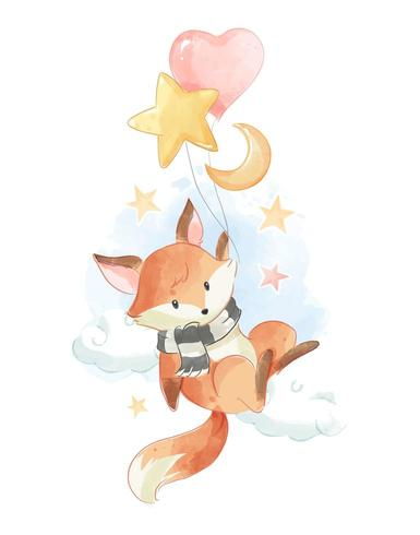 fox holding balloons in the sky vector