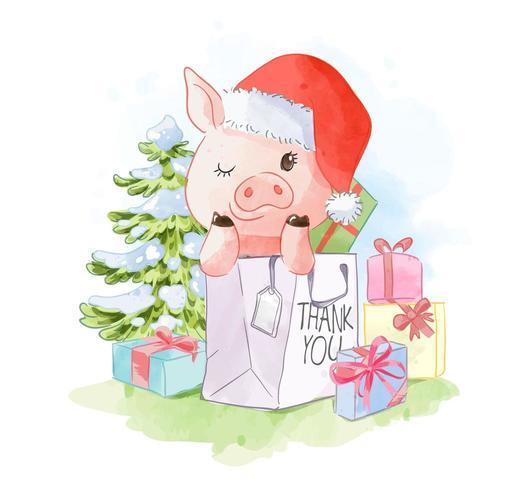 lindo cerdo en bolsa de compras vector
