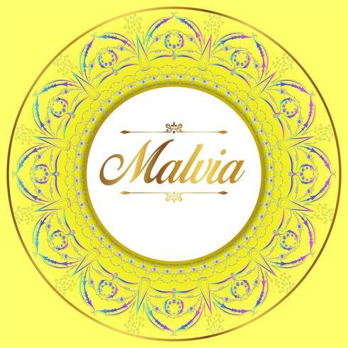 Yellow Mandala Border vector