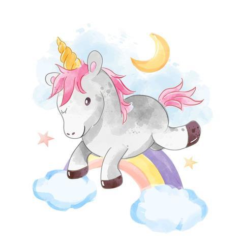 unicorn jumps over rainbow vector