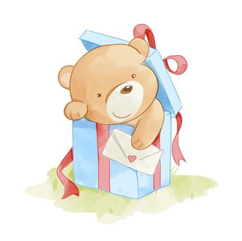 bear in present box vector