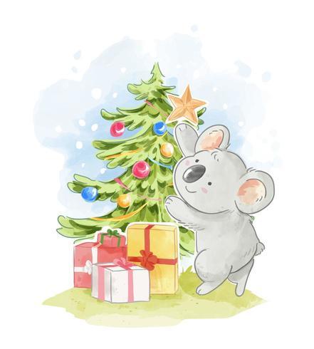 Koala Decorando Árbol De Navidad vector