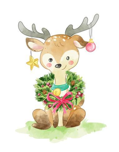 Deer with Christmas wreath vector