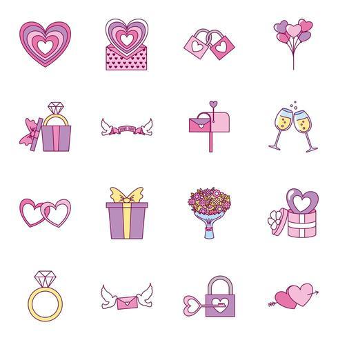 conjunto de iconos del día de San Valentín vector