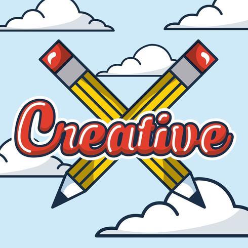 Tarjeta de idea creativa con lápices cruzados y nubes vector