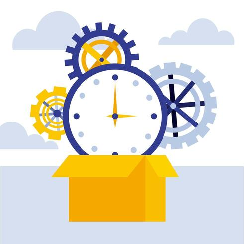 business concept cardboard box clock time gears vector