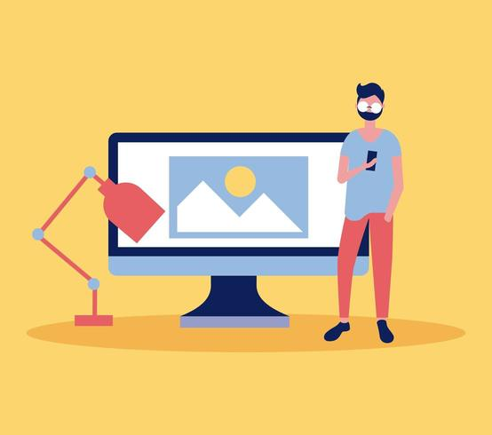 hombre diseñador frente a computadora y lámpara vector