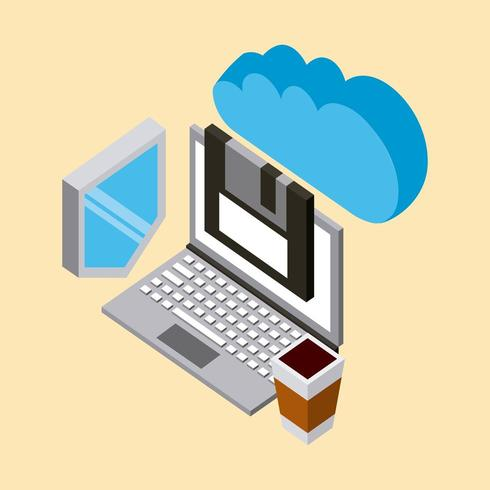 isometric cloud computing icons vector