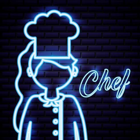 cartel de neón del chef vector