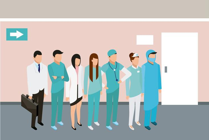 medical people standing in hallway vector