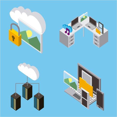 almacenamiento de computación en la nube isométrica y artículos de oficina vector