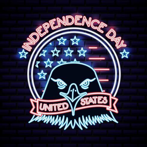 Día de la independencia americana letrero de neón con cabeza de águila vector