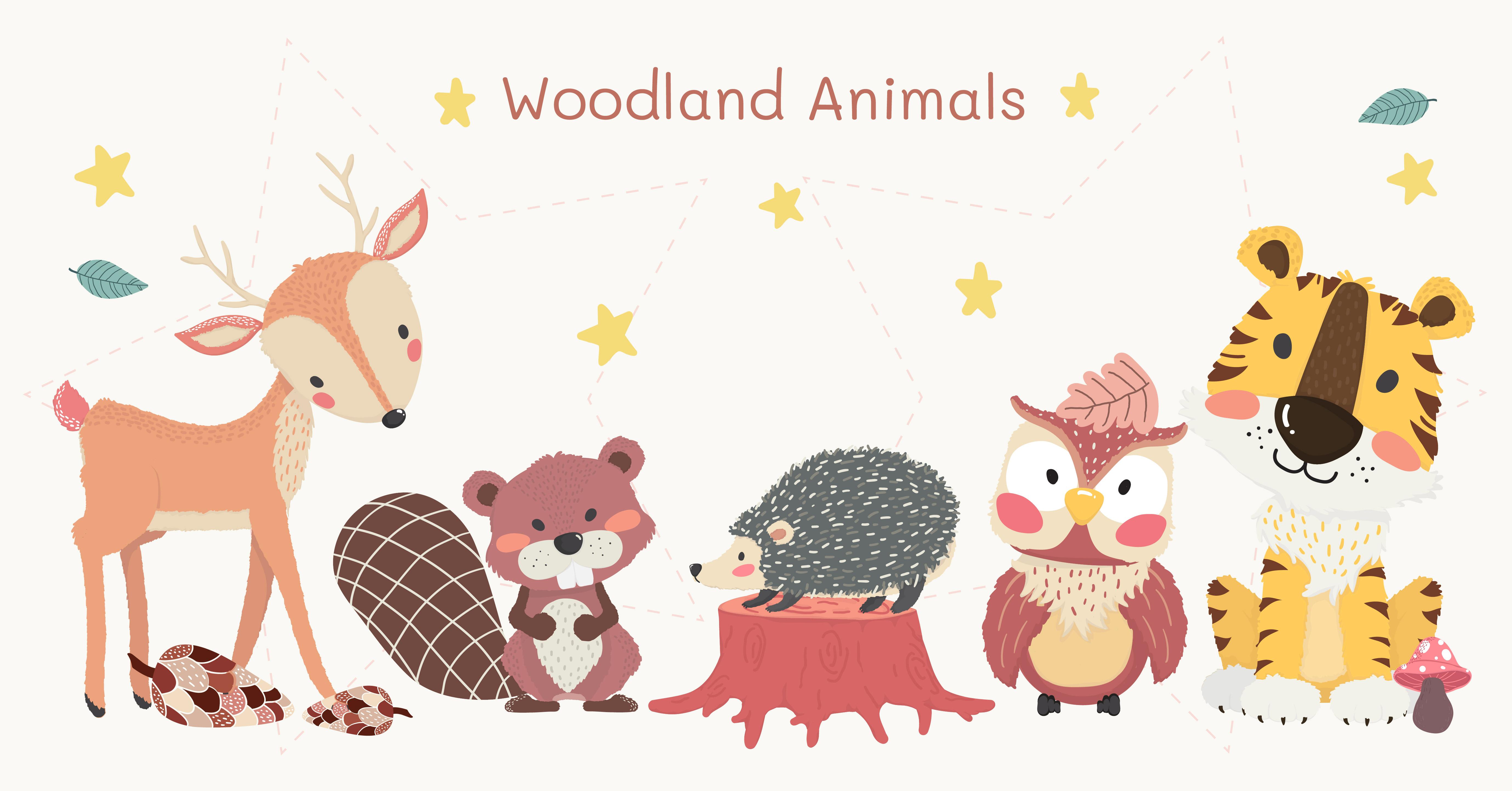 cute woodland animals clipart set, tiger, reindeer, owl ...