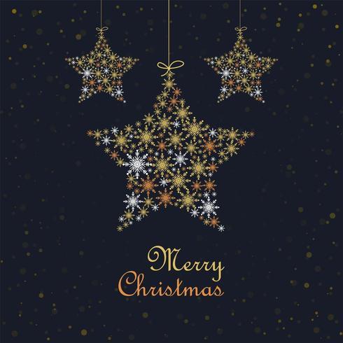 Colgantes coloridos copos de nieve estrella celebración tarjeta fondo vector
