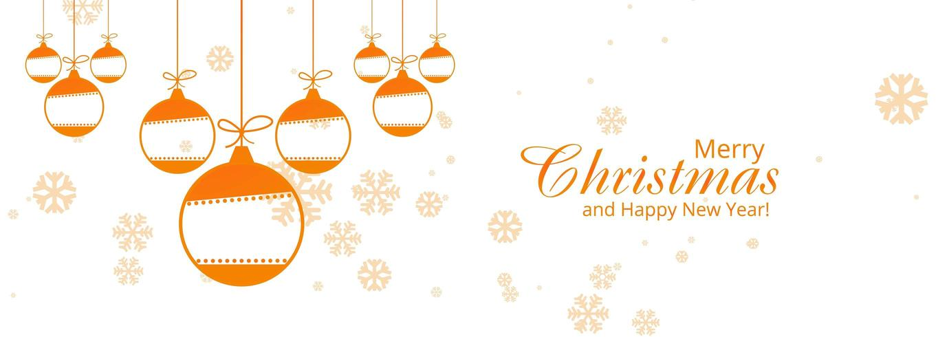 Bola decorativa de Navidad con copos de nieve banner vector