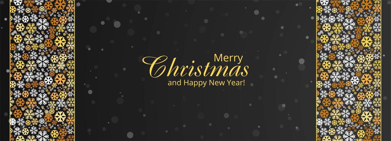 Feliz Navidad copos de nieve y feliz año nuevo diseño de banner vector