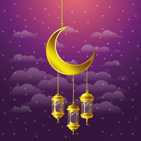 ramadan kareem golden lanterns and moon hanging