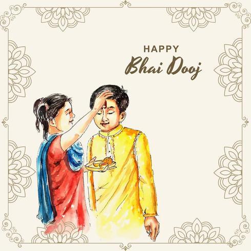 Familia india celebrando el festival Bhai Dooj vector