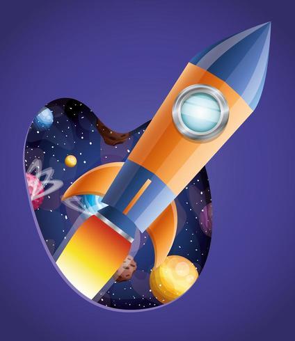 Foguete com design de chamas e planetas vetor